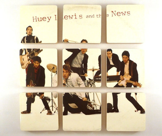HUEY LEWIS and the NEWS Record Album Wacky Vinyl Bowl and 9 Coasters