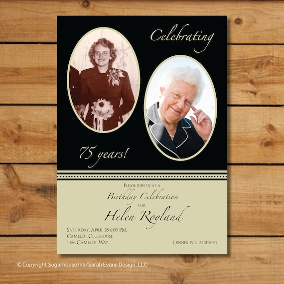 Anniversary Party Invitations - Now and Then - Custom Milestone Birthday Invitation