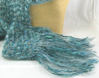 Blue Topaz Aquamarine Mohair Blend Handcrafted Crochet Scarf