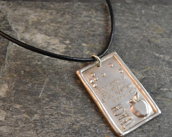 CLEARANCE Nine tenths of Education Quote Braille Pendant in Pure Silver JewelryInBraille