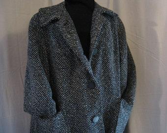 Vintage Zuder Zee Wool Three Quarter Length Coat in Black, Blue and White