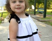Beautiful White Pillow Case Dress with Black Velvet Ribbon Trim Perfect for Weddings Portraits Everyday