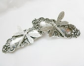 Small Pair of Dragonfly Barrettes  in Antiqued Silver