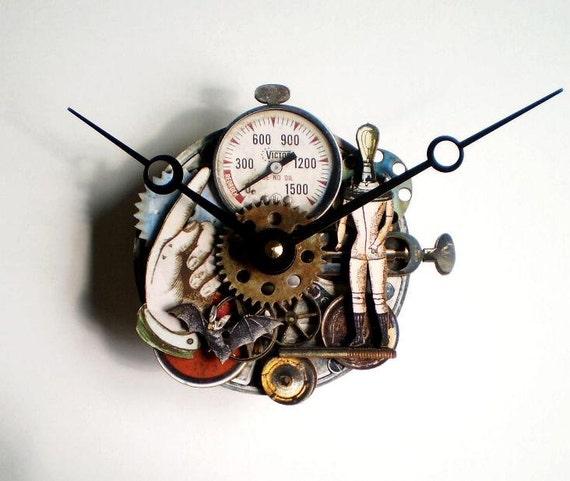 Steampunk Clock with Light Bulb Head