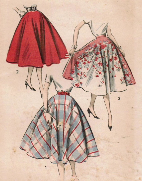 1950s Advance 8597 Vintage Sewing Pattern Misses' Skirt Size Circle Waist 24