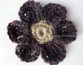 SALE! Crochet Flower Pin- Ultimate Daisy Pin- Blackberry Mink Tan- Crochet Jewelry