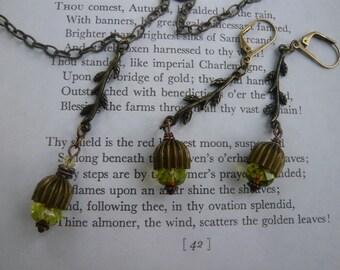 Acorn Pendant Necklace and Dangle Earrings Set
