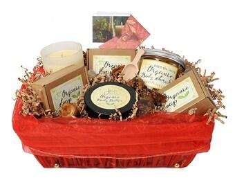 JenSan6 Piece Aromatherapy Organic Spa Gift  Basket, FREE SHIPPING