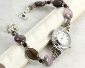 Bracelet Watch Band Beaded Agate Gemstone Gray Black Quartz Silver Jewelry