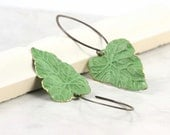 Chartreuse Green Leaf Earrings Brass Patina Handmade Ear Wires Woodland Jewelry - AbacusBeadCreations