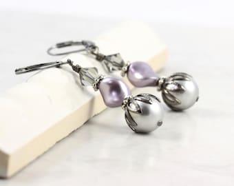 Gray Pearl Earrings Mauve Earrings Black Crystal Jewelry Gunmetal Earrings Prom Jewelry Spring Fashion Bride Jewelry Summer Wedding Earrings