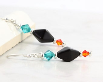 Blue Zircon Earrings Black and Orange Crystal Jewelry Fire Opal Earrings Turquoise and Silver Dangle Earrings Czech Glass Jewelry for Her