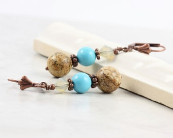 Turquoise Earrings Blue Brown Sand Opal Jasper Gemstone Beach Fashion Summer Mothers Day Jewelry