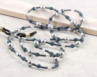 Gray Eyeglass Holder Blue Beaded Lanyard Office Fashion Pearl Sunglass Leash Crystal Eyeglass Chain Gray Pearl Eyeglass Necklace