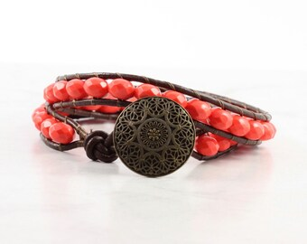 Orange Coral Wrap Bracelet Brown Leather Wrap Bracelet Boho Style Double Wrap Brass Tangerine Melon Bohemian Bracelet