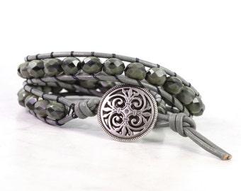Green Wrap Bracelet Gray Leather Wrap Bracelet Black Bead Bracelet Bohemian Jewelry Boho Jewelry Double Wrap Army Green Leather Jewelry