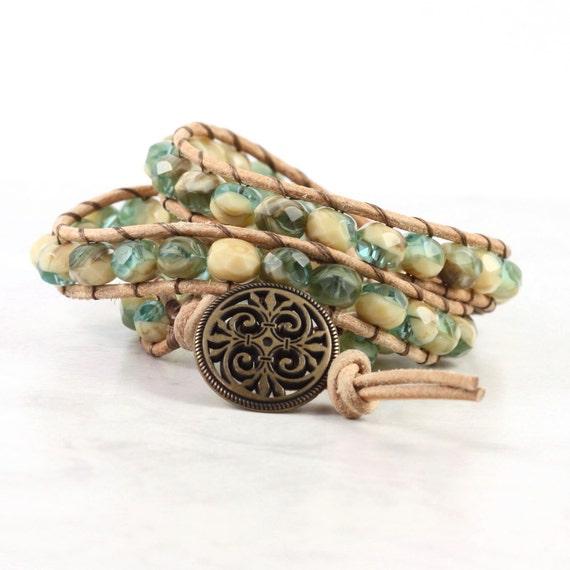 Rustic Brown Leather Wrap Bracelet Tan Suede Beige Green Bohemian Bracelet Triple Wrap Boho Hippie Jewelry Southwest Bracelet Autumn Jewelry
