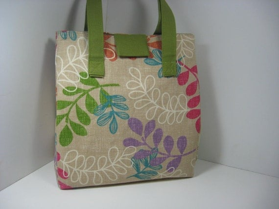 Insulated Lunch Bag Purse - Many Leaves