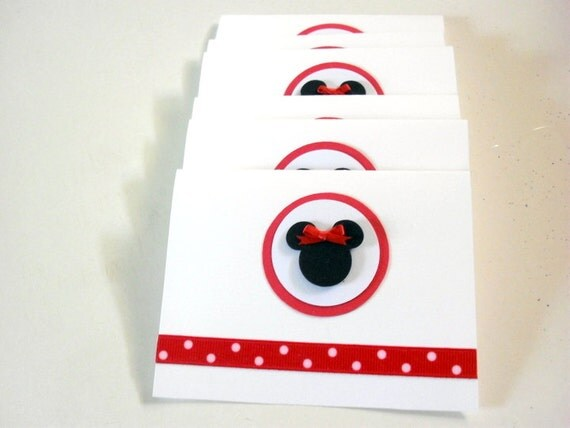 5 Minnie Mouse Birthday Invitation Cards, Polka Dots Minnie Mouse Thank You Cards, Minnie Mouse Baby Shower,Red and White Minnie Mouse Card