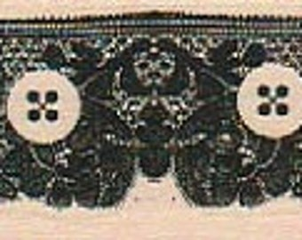 Rubber stamp Buttons and Lace border unMounted scrapbooking supplies number 18951