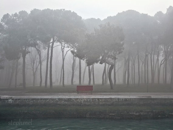 The red bench, 8x6 fine art photo print, misty dreamy haunting surreal scene, Venice, Italy, travel photography
