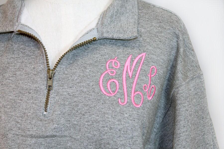 womens monogrammed sweatshirt 1  4 zip personalized by shopmemento