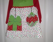 Girls Christmas Dress, Handmade, Applique, Free Bow or Headband,Green,Red,Toddler,Infant Sizes