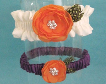 Ivory, Tangerine and Purple flower Garter Set A061 - wedding garter accessory