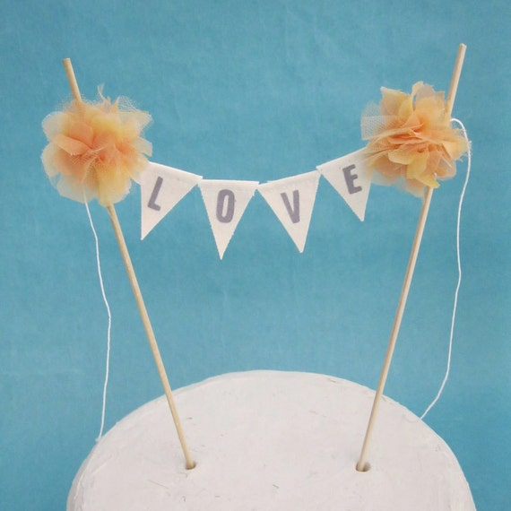 Peach Organza and Chiffon Pompom flower LOVE Cake Banner I161- shabby chic wedding bunting
