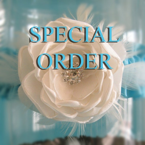 Specila Order for laceyhubbard, Wedding Garter Turquoise lace, Coral Rose,  bridal garter I154, budget bridal garter accessory