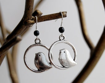 Sweetly Minimal Silver Bird Earrings | Cute Bird Charm Earrings | SALE