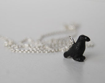 Little Black Raven Necklace | Black Bird Charm Necklace | Crow Pendant Necklace