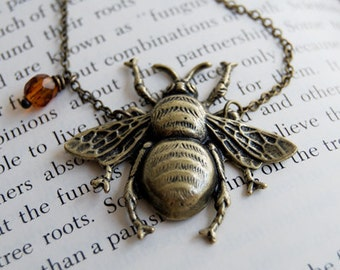 Large Brass Honey Bee Necklace | Bee Pendant | Bumblebee Necklace