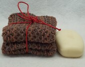 Crocheted Chocolate Brown cotton wash cloth dish cloth eco friendly