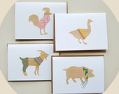 "Animal Cards, 5x7"", Blank  Note Cards, Whimsical and Sweet Handmade Note Cards, 4 Pack"