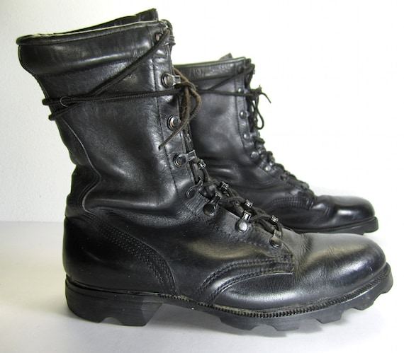 Vintage 1980s Black Leather Combat Boots Mens 6 1 2 By