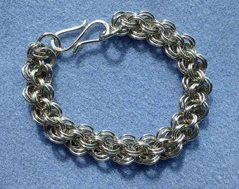 Kaeti's Original German Silver Double Chainmaille Weave Bracelet 8 Inches in Length