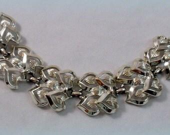 Vintage Coro Heart Link Bracelet Silvertone Signed