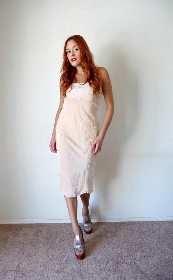 Vintage 50s Peach EMBROIDERED SILK Slip Dress S M