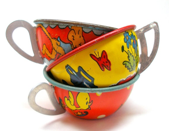 Tin Toy Tea Cups & Saucers, Set of 6 with puppy, monkey, horse, ducklings.