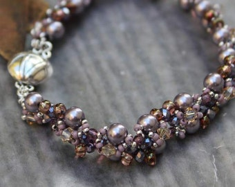 Hand Beaded Glass Pearl and crystal bracelet, mauve, purple, cranberry, silver