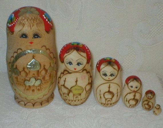 """Nesting DOLLS 6 Piece Russian Stacking Wood Doll Set Hand Painted 6.5"""" Vintage"""