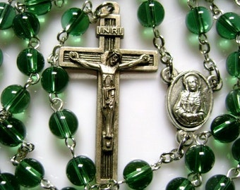 Beautiful  Green Natural Oliver Crystal ROSARY  CROSS