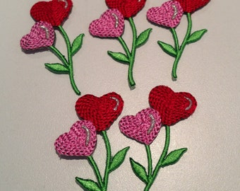 HEART APPLIQUES-1.5 inch-set of 5