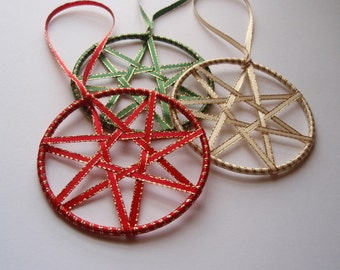 Faerie Ribbon Stars - Set of 3 Red Green and Cream Yule or Christmas Ornaments