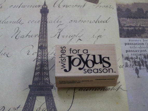 Joyous Seaosn Penny Black wood mounted Rubber Stamp