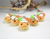Mini Orange Cupcake Stitch marker (Set of 5)