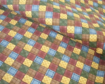 Multicolored Squares Fabric-- TWO yards