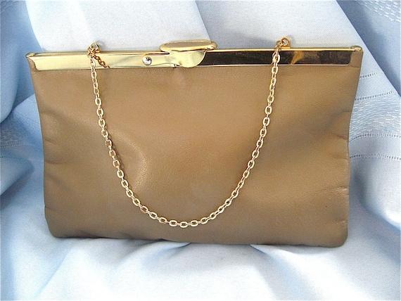 Vintage Taupe Clutch Bag