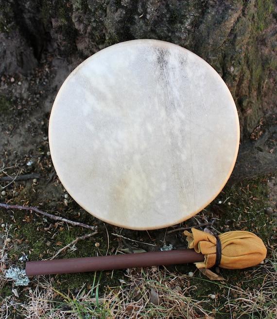 """8"""" eight inch diameter real deer raw hide skin and cedar hoop frame shaman hand drum with handmade wood and deerskin beater"""